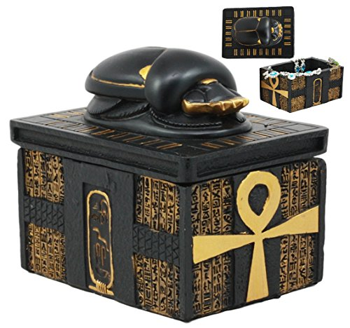 Ebros Egyptian Amulet Scarab Beetle With Ankh Hieroglyphic Base Jewelry Box Figurine Classical Egyptian Secret 3.5