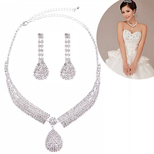 FANCY LOVE Circle Crystal Rhinestone Bridal Necklace Earrings Jewelry Sets (F15) from FANCY LOVE BOUTIQUE