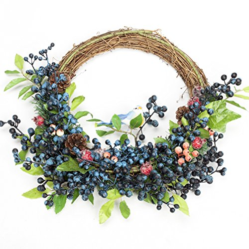LTWHOME Artificial Handmade Ornamental Wreath with Berries, Bird, Pine Cones for Home, Front Door, Wall, Mantelpiece, Window Decoration (Wreath Blueberry)