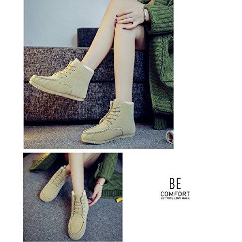 Botas Mujer,Ouneed ® Las nuevas mujeres mantienen vendaje corto invierno de botas de nieve caliente Beige
