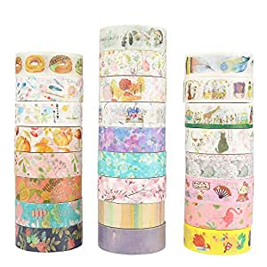 Molshine Set of 25 Decorative Japanese Washi Masking Adhesive Tape – Gallery Series - Collection, (15mm x 7m, 0.59inch x 7.6 Yards) for DIY