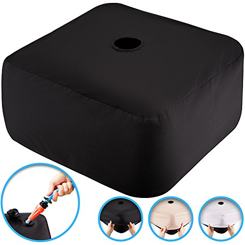 NEW~Water filled patio umbrella base weight bag~No Mess, Easy Storage~multiple covers included for any decor, fits all umberellas (18in by 18in by 7in)
