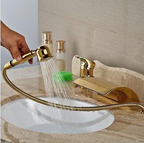 GOWE Modern Golden 3pcs Widespread Bathroom Waterfall Tub Filler Faucet Hand Shower Set Mixer Taps 5