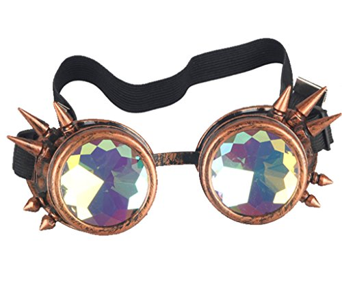 FUT ABS Rainbow Spiked Steampunk Goggles, Kaleidoscope Rave Lenses Cyber Welding Goth Cosplay Vintage Goggles 5