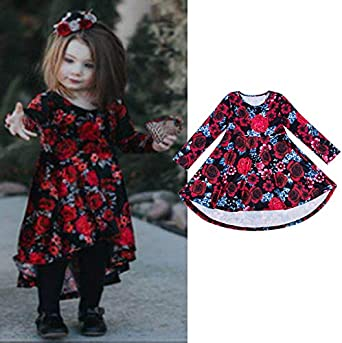Baby Girls Princess Floral Dress Long Sleeve Red Rose Party Pageant Formal Outfits