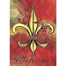 Welcome Crawfish Fleur de Lis on Watercolor Red 18 x 13 Rectangular Screenprint Small Garden Flag