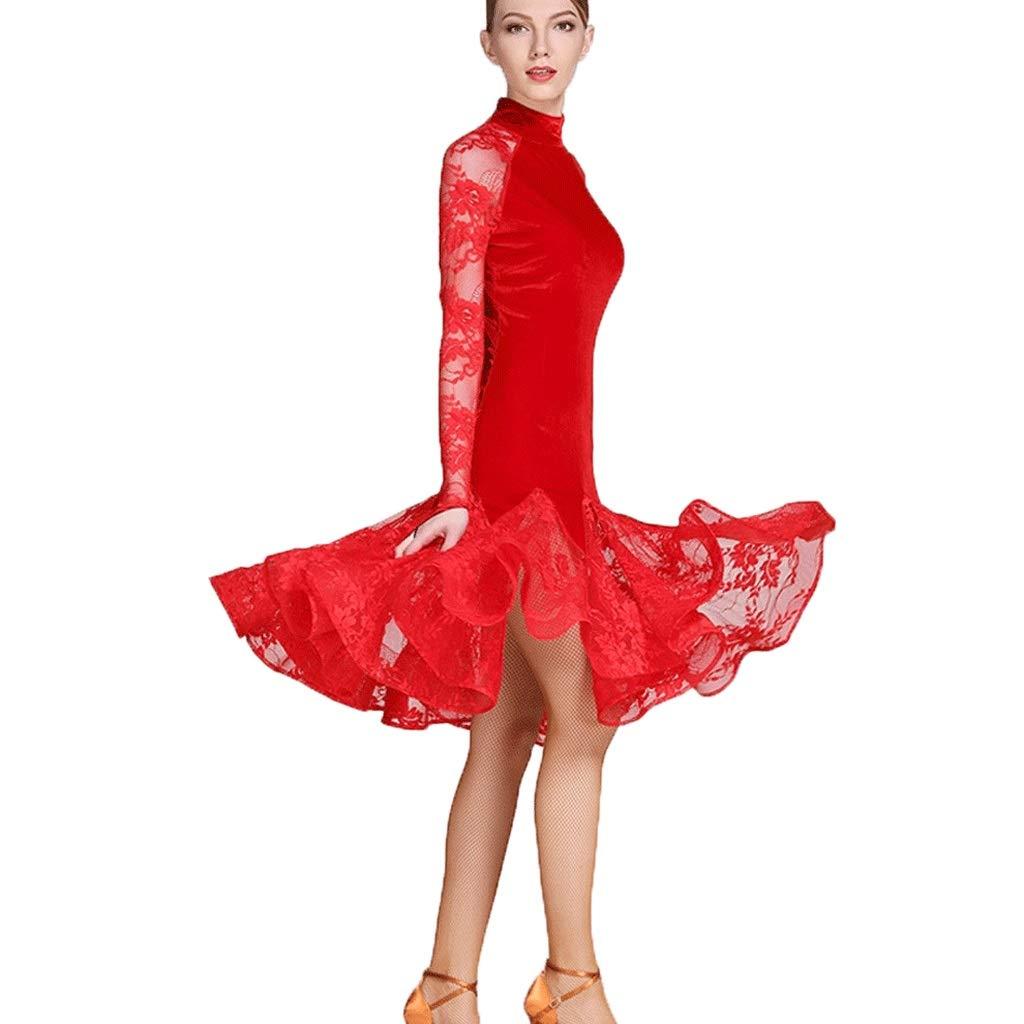 女性のためのラテンダンスダンス衣装標準的な標準的なダンスの服、レースのスプライス長袖ハイネックアート試験競争ダンス衣装 B07Q7PCNMC レッド S s
