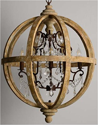 CHAMBERY DISTRESSED WOOD AND IRON FRENCH COUNTRY ORB WITH CRYSTAL      Amazon.com