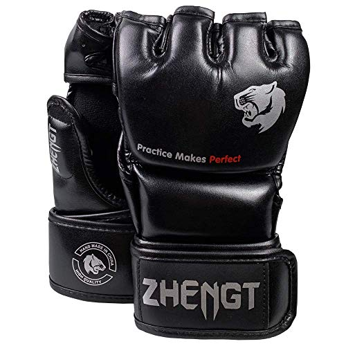 (ZTTY MMA Gloves Martial Arts Training Sparring Punching Bag Gloves for The Kickboxing with Microfiber Leather (Black, L-XL))