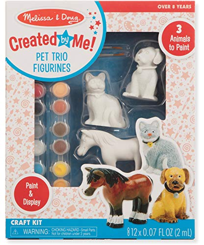 Melissa & Doug Created by Me! Pet Figurines Craft Kit (Resin Dog, Cat, Horse, 12 Paints, 2 Brushes)