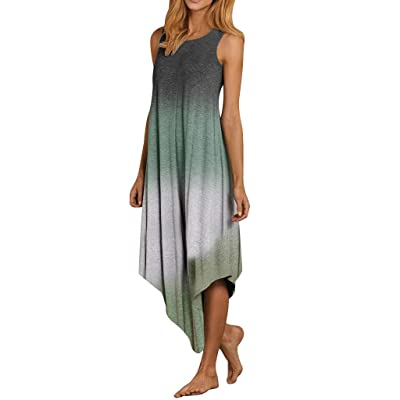 Chanyuhui Tank Dresses for Women Summer Sleeveless Tie Dyeing Tunic Top Dress Casual Irregular Maxi Gown Beach Sundress at Women's Clothing store