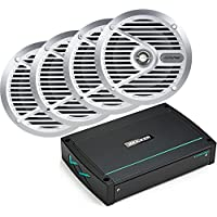 Kicker Bundle of 3 items 44KXMA400.4 4-Channel KXM Series Marine Amplifier with Alpine SPS-M601 6-½ Type S Series 2-way Marine Speakers (2 Pairs)
