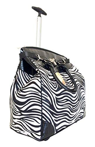 (TrendyFlyer Computer/Laptop Rolling Bag 2 Wheel Case Blk Zebra Stripes)