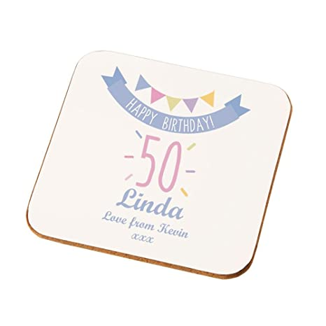 Personalised 50th Birthday Coaster Gifts For Her Unique Presents Amazoncouk Kitchen Home