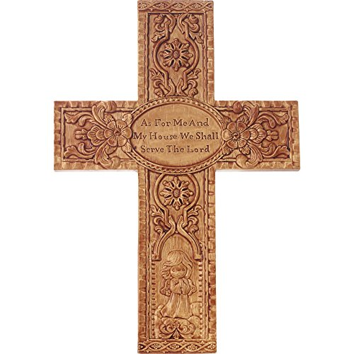 Precious Moments 179109 As for Me & My House We Shall Serve The Lord Faux Wood Resin Wall Cross with Easel Stand