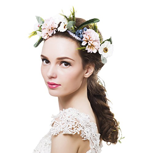 Newly arrived Rattan Flower Vine Crown Tiaras Necklace Belt Party Decoration (Pink and White-1)