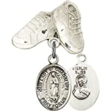 Sterling Silver Baby Badge with Our Lady of Guadalupe Charm and Baby Boots Pin 1 X 3/4 inches