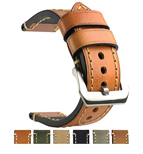 ZLIMSN Genuine Leather Watchbands for Men 20mm 22mm 24mm 26mm Wristwatch Watch Band Belt Black Brown Strap Replacement (24mm, Light - Mens Fossil Strap Brown