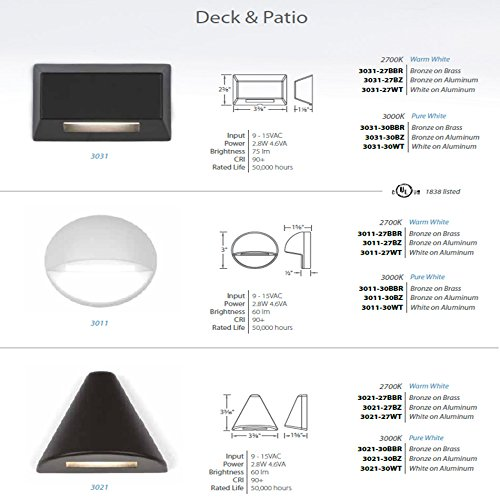 WAC Lighting 3021-30BBR WAC Deck & Patio LED 12V Triangle Deck and Patio Light 3000K Soft White in Bronzed Solid Brass,