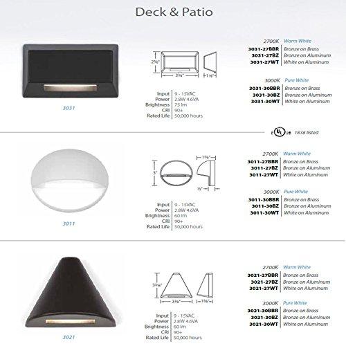 WAC Lighting 3011-27BBR 2700K Warm White LED 12V Round Deck and Patio LightBronzed Brass