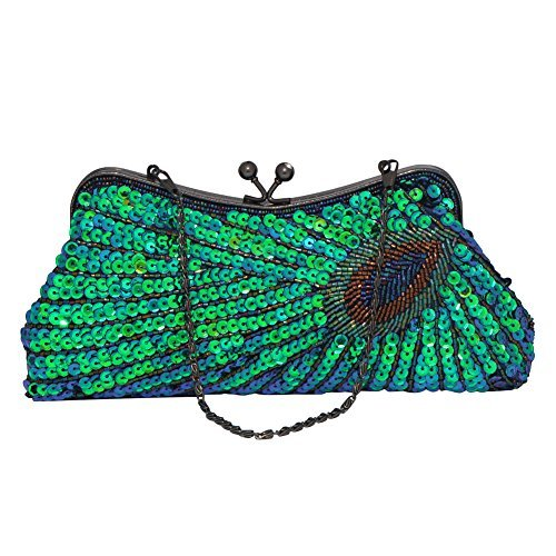 Bagood Purse Evening Women's Sequin Handmade Wedding Party Peacock Green2 Clutch Handbag Beaded Bag qUHZqw