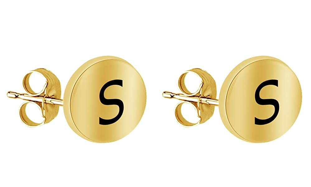 14k Yellow Gold Over Sterling SilverA to Z Alphabet Initial Letter Stud Earrings