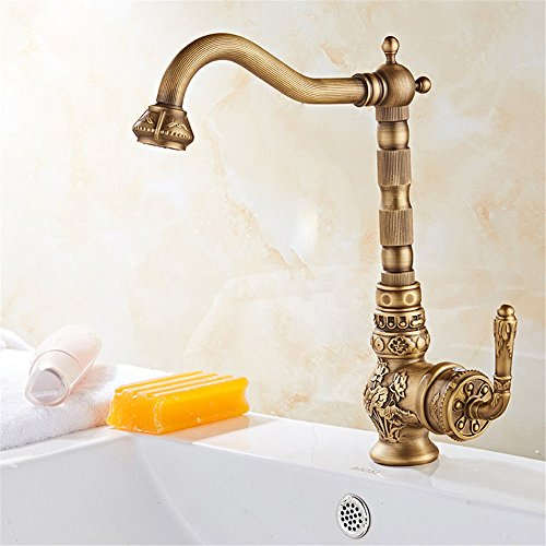 Dayanand Sink Faucet Antique A Full 360° Lowered Copper Antique Basin Faucet Vanity Area with Carved Basin Cold Water tap.