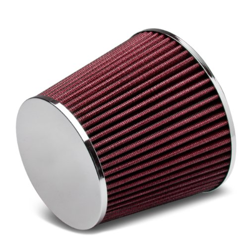 "3"" Inlet x 6.5"" Air Intake Chrome Closed Top Cone Air Filter (Red)"