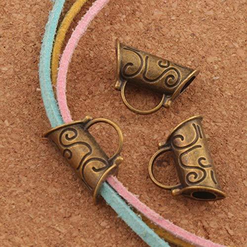 (Calvas Flower Swirl Tube Bails Beads Fit Charm European Bracelet L296 14pcs Antique Bronze)