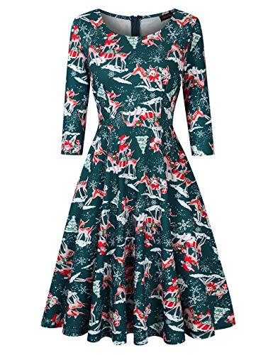 GloryStar Women's 3/4 Sleeve Christmas Dresses Vintage Cocktail Fit Flare A line Swing Dress Xmas Gifts Green Reindeer S ()