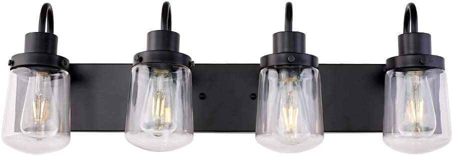 YAOHONG Modern Bathroom Vanity Light 4-Lights Lamp in Black,Farmhouse Wall Light Fixture with Clear Glass Shades,Indoor Wall Lamp