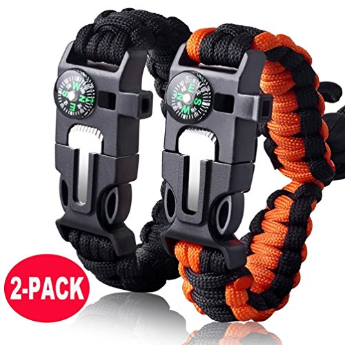 Survival Bracelet Paracord Military Bracelet Buckle Tool Adjustable Rope Accessories Kit, Fire Starter, Knife, Compass, Whistle,for Fishing Gear Supplies, Hiking Travel Camp(2pcs), (Black,Orange)