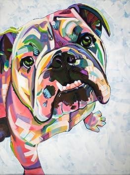 Pioenfly Watercolor Bulldog Pattern Painting Animal Canvas Prints Wall Art Decoration 12x 16