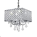New Legend 4-Light Chrome Finish Square Metal and Crytal Shade Crystal Chandelier Pendant Hanging Ceiling Fixture