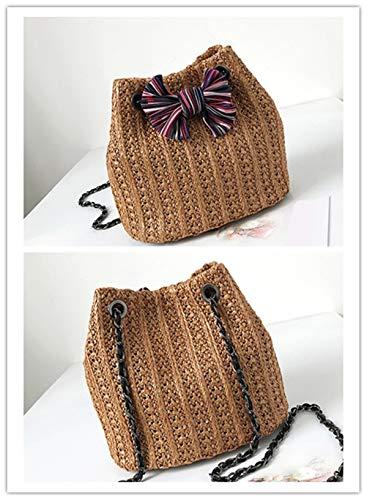Bowknot Bag Purse Brown BeautyWJY Crossbody Beach Bucket Summer Shoulder Straw Woven wxCq1nSHA