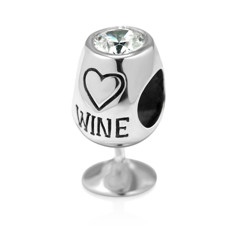 925 Sterling Silver Simulated Cubic Zirconia Love Wine Glass Bead Charm Fit Major Brand Bracelet