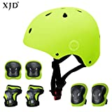 XJD Child Adjustable Sports Protective Gear Set Safety Pad Safeguard (Kids Helmet Knee Elbow Wrist) for Roller Bicycle BMX Bike Skateboard Scooter and Other Extreme Sports Activities (Yellow)