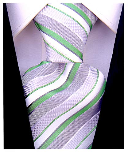 Striped Ties for Men - Woven Necktie - Green