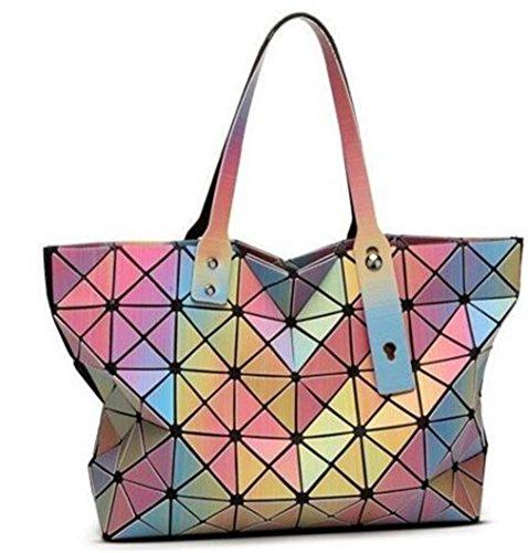 Geometry Totes Geometry Folding Rainbow Bag Tote Shoulder Crossbody Bag rainbow