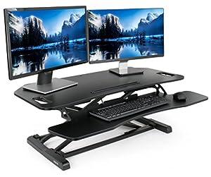 """VIVO Black Height Adjustable Stand up Tabletop Desk - Monitor Riser 37"""" Sit to Standing Workstation (DESK-V000KL)"""
