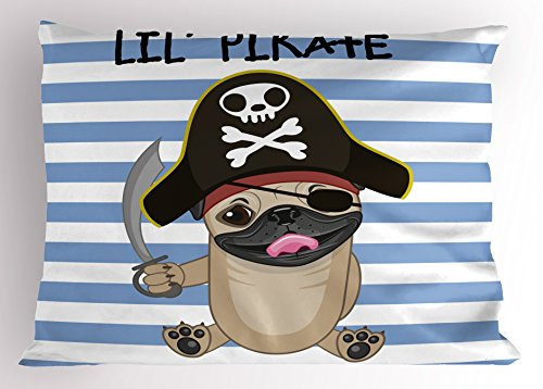 Modern Day Pirates Costume (Pirate Pillow Sham by Lunarable, Buccaneer Dog in Cartoon Style Costume Holding Sword Lil Pirate Striped Backdrop, Decorative Standard Queen Size Printed Pillowcase, 30 X 20 Inches, Multicolor)