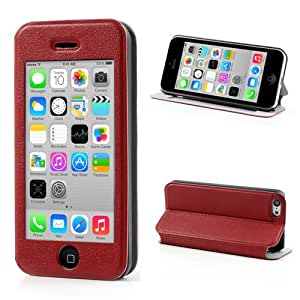 Red iPhone 5C Protective Leather Flip Touch View Case Cover