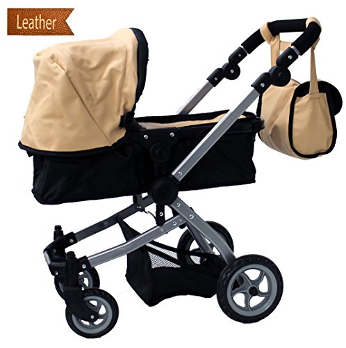 Babyboo Luxury Leather Look Doll Pram with Swiveling Wheels & Adjustable Handle and Free Carriage Bag - 9651B Beige