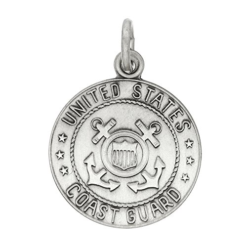 Sterling Silver Oxidized Pewter-Like Texture Finish Licensed US Coast Guard Charm or (Coast Guard Charm)