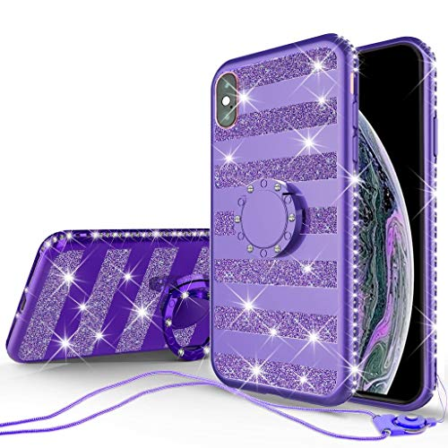 iPhone Xs Max Case for Girl Women, Glitter Cute Girly Ring Kickstand Diamond Rhinestone Bumper Clear Shock Proof Protective Phone Case Compatible for iPhone Xs Max - Purple ()