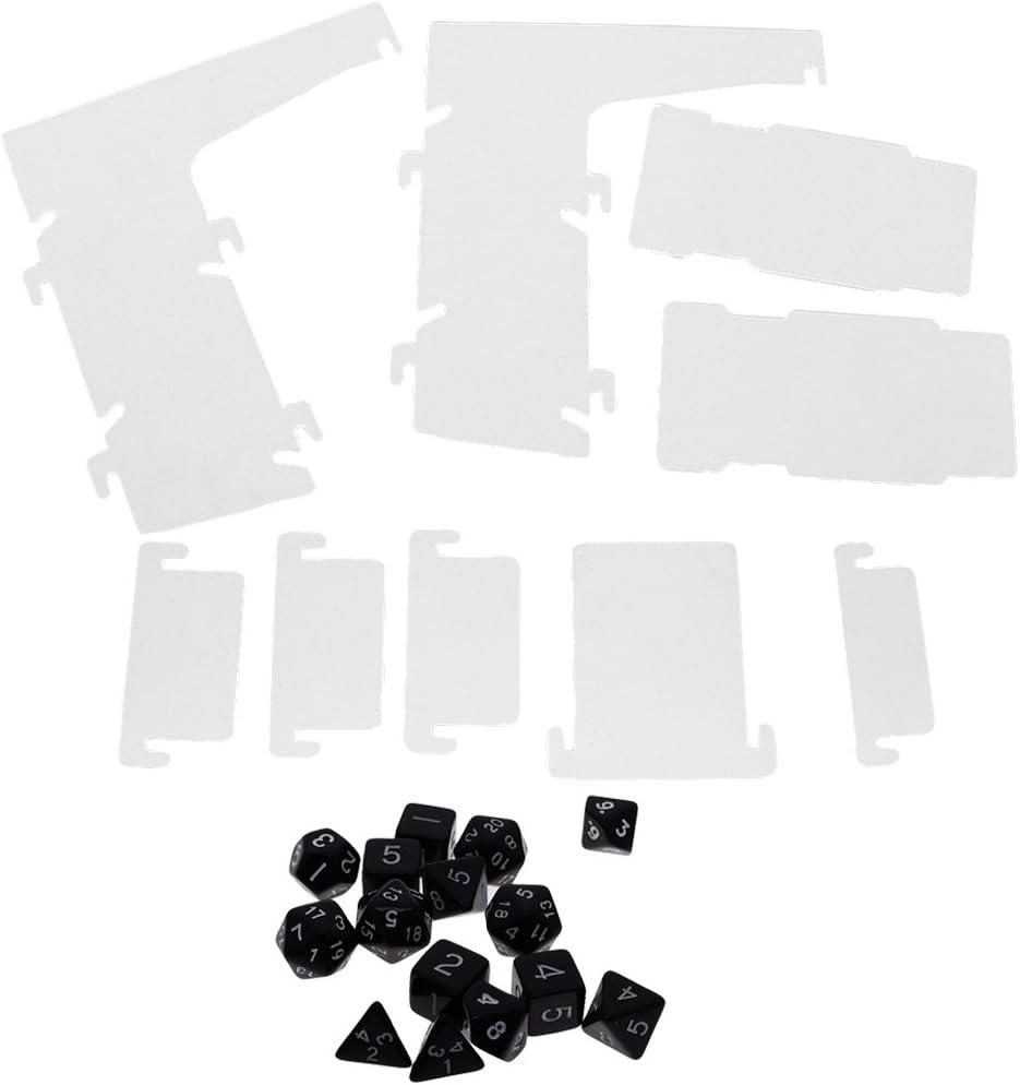 Gazechimp Set de 15 Piezas Dados de Múltiples Lados de Color Negro con Tablero de Transparente de Plástico Juguete DIY Fácil de Transportar Bueno Regalo