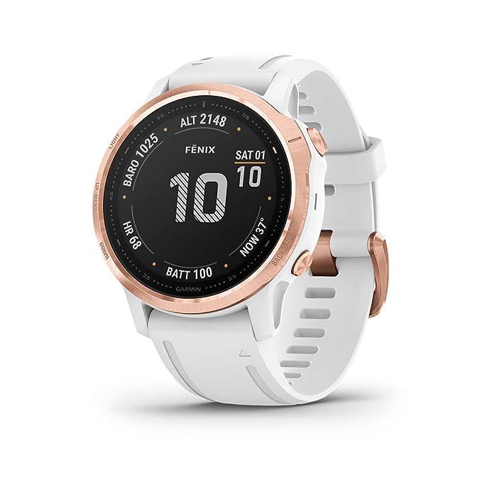 Garmin Fenix 6S Pro, reloj GPS multideporte definitivo, tamaño más pequeño, funciones de mapeo, música, monitoreo de ritmo ajustado por grado y ...