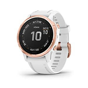 Garmin Fenix 6S Pro, Premium Multisport GPS Watch, Smaller-Sized, features Mapping, Music, Grade-Adjusted Pace Guidance and Pulse Ox Sensors, Rose Gold with White Band