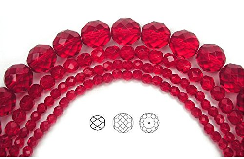 Faceted Strand - 6mm (204 beads) Light Siam, Czech Fire Polished Round Faceted Glass Beads, 3x16 inch strand