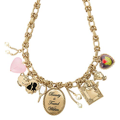 Disney Danielle Nicole Antique Worn Gold Tone Beauty and The Beast Charm Necklace, 18 Inch Chain with 3 Inch Extender -